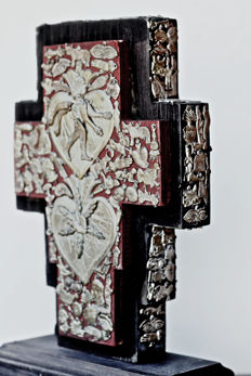 mexican folk-art cross decorated on all sides with exvotos(milagros),sacred heart relics, mexico, 1960's or earlier