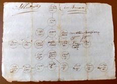 Antique family tree - Famiglia Bonaiuti from Florence - 1700