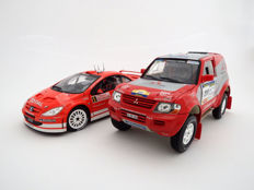 Solido - Scale 1/18 - Lot with 2 models: 2004 Mitshubishi Pajero Paris Dakar #211 Mayer / Schulz and 2004 Peugeot 307 WRC Monte Carlo 2004 #5 Grönholm / Rautiainen
