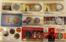 The Netherlands / Belgium - collection 9 coin cards including 2½ guilders 1979, 1 & 2½ guilders 1980 and 5 guilders 2000