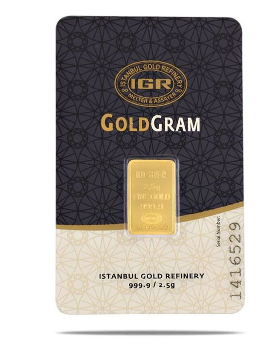 2,5 Gr Sealed Fine Bullion Gold Bar, **** NO RESERVE PRICE *****