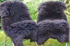 Pair of natural brown, thick Sheep Skins - Ovis aries - 130 x 70 cm (2)