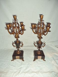 A set of 5-light candlesticks - alloy with marble - France - ca. 1900