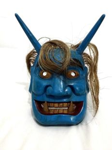 Wooden demon festival mask - Oni 鬼 - Japan - 1970