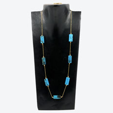 18k/750 yellow gold necklace with Arizona turquoises - Length 52 cm.