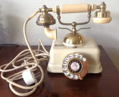 Vintage French Victorian Style Brass & Cream Telephone