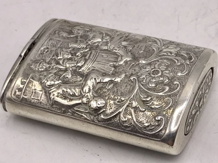 Antique Dutch silver tinder-box completely modified. FA. Dahlia 1st half 19th century.