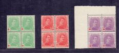 Belgium 1914 – King Albert I for the benefit of the Red Cross in block of 4 – OBP 129/131