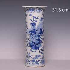 Large blue and white porcelain beaker vase – decoration of kylins – China – 19th century (marked:  Kangxi)