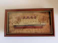 Wooden diorama depicting the famous ship TITANIC