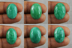 Natural Oval Shaped Emerald Cabochons Lot - 101.50ct  (6)