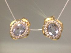 18 kt gold earrings Zirconias and blue glass