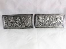 Set of 2 silver pillow ends – China – circa 1900