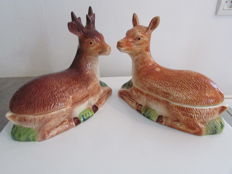 2 large earthenware terrines signed Michel Caugant represents the deer and his mate