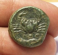Greek Antiquity - Italy, Sicily Akragas (425-406 BC) AE Hexas 8,00g.  20mm Green patina - Calciati 63v, SNG ANS 1037,