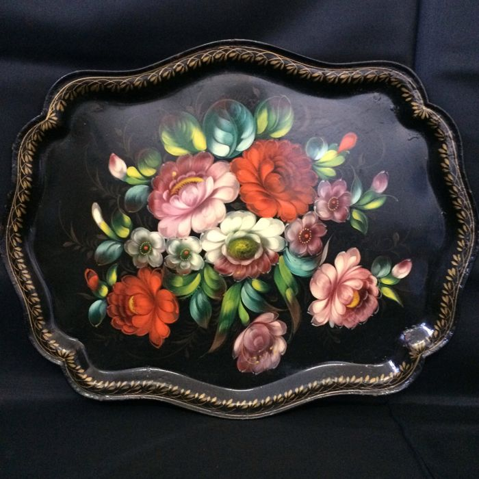 Flower Themed Tin Plate, ca.1950
