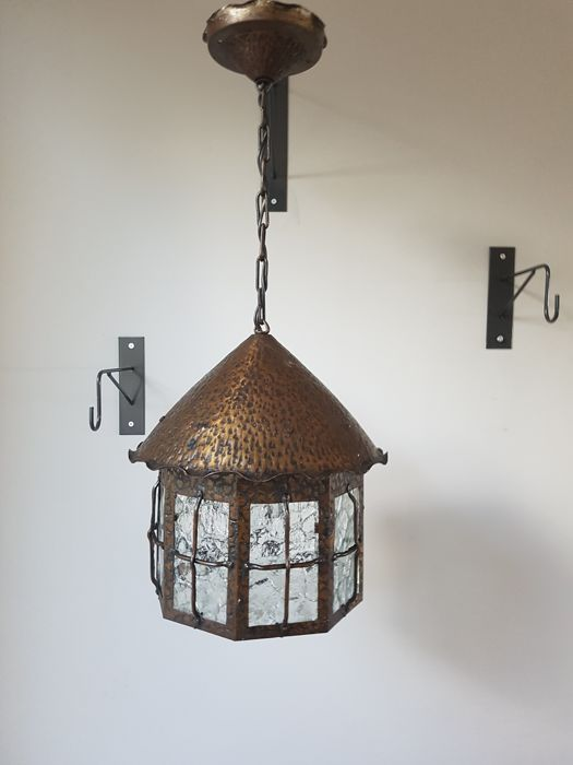 Amsterdam School hall lamp in copper and glass