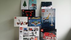 Employee Gift - 2011 + 4000007 + 4000013 + 4002014 + 4002015 + 4002016 - Duck + Ole Kirk's House + A Lego Christmas Tale + HUB Birds + Borkum Riffgrund 1 + 50 Years On Track - with 3 original Christmas cards