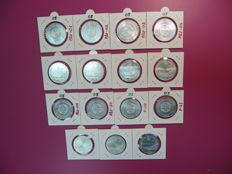 Portugal - Lot of 15 silver coins (all the same) of €5, from Portugal, 2005, FDC 'Historic Centre of Angra Heritage of Humanity'