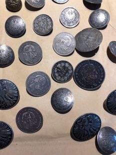 33 silver coins silver buttons - Germany, Austria, France - 1840/1900