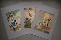 Oriental erotic; 3 offset prints with Chinese pictures - before 2000