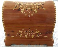 Cedar trunk with keys, hand decorated with mother-of-Pearl inclusions.