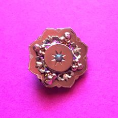 Octagonal brooch, two 14 kt gold, Napoleon III period