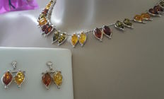 Multi colour Amber silver necklace & earrings set with natural Baltic Amber