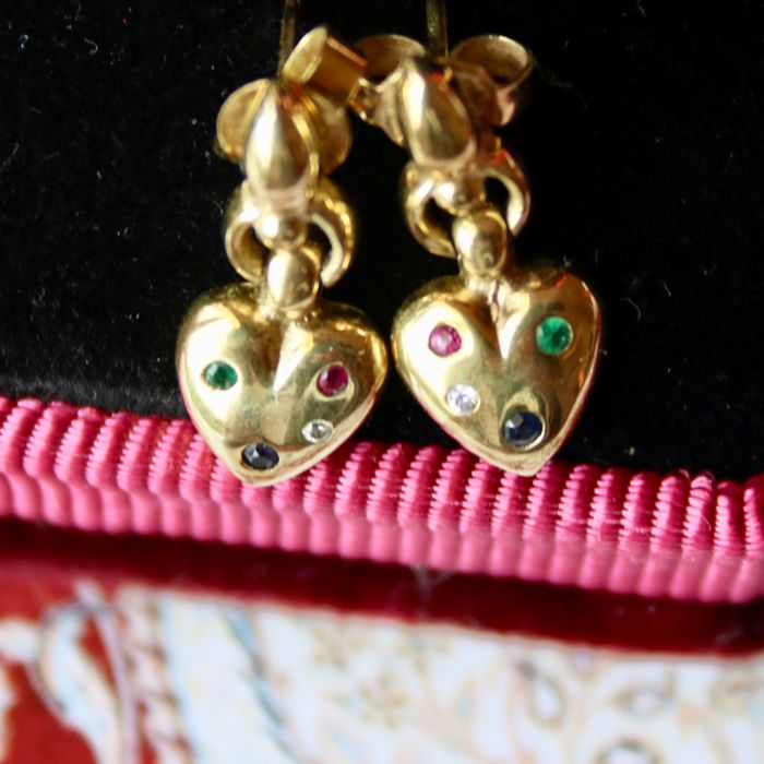 Vintage Gold earrings with small Ruby, Sapphire, Emerald, Topaz and Gold ring with a green and pink natural Tourmaline