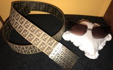 Fendi combined lot: double face monogram belt + unisex sunglasses