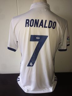 Cristiano Ronaldo Official Hand Signed Real Madrid shirt + Full Provenance PSA/DNA and photoproof.