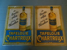 2 tin signs for chartreux oil, 1953 Dutch 1 dark blue and 1 light blue