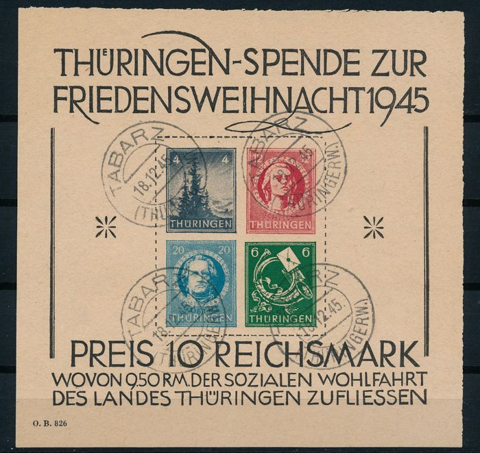 Soviet Zone - Thüringen - 1945 - Christmas Block on grey paper, Michel Block 2 t (I)
