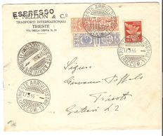 Italy, 1944 – RSI, emergency franking with parcels 30 and 60 cents, and airmail, 80 cents, on direct envelope within the city – Sass. No.  27, 29 and PA 13.
