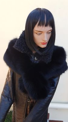 Extra-large Stole - Black Fox Fur - Made in Italy