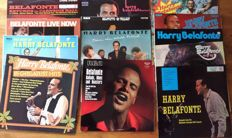 Lot of 13 records of Harry Belafonte packed in a solid wooden case, 10 normal LP's and 3 double LP's