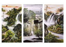 3 Watercolor on Rice paper (Xuan), partially hand painted - China - late 20th century