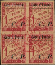France 1904 - General colonies, Ivory Coast tax stamp 1 franc, block of 4 with a rare date stamp from Bingerville - Yvert n° 15