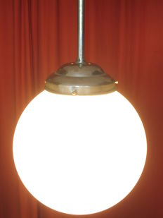 Large vintage opaline glass school lamp school 1940s/1950s