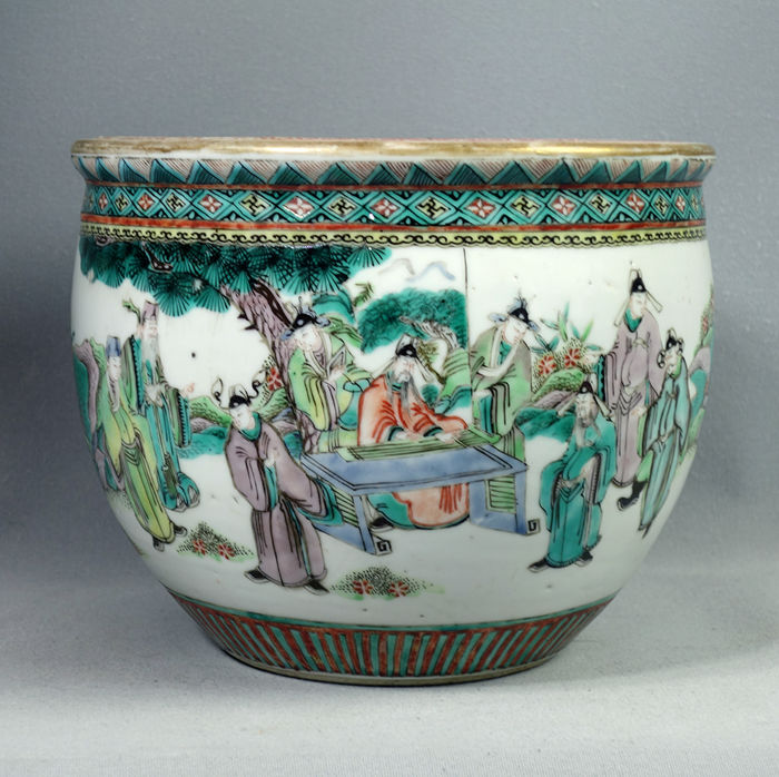 Rare beautiful Chinese famille-verte FISHBOWL, with noblemen, mid 19th century