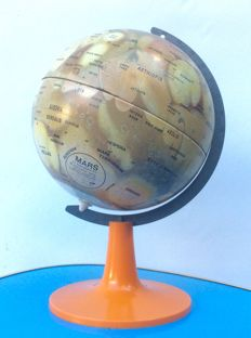 Scan Globe- Globe Martien sur pied Orange Design Vintage 70