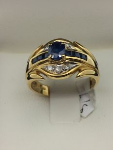 750 gold ring, sapphires and diamonds, size 53
