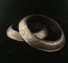 Pair of vintage silver bracelets / anklets - South Sumatra (Indonesia) from the early 20th century