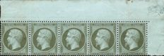 France 1862 - Empire perforated 1 centime greyish olive in strip of 5 - Yvert 19