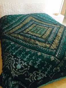 Ancient Indian cotton and silk bedspread