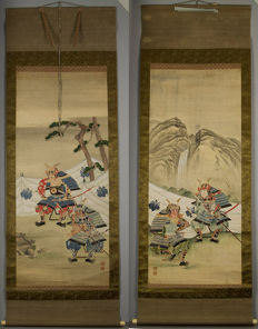 Scroll paintings, Samurai, hand painted diptych set - Japan - 19th century