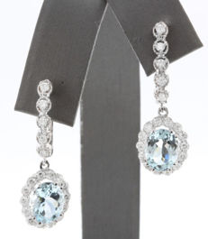 "4.21 ct Gold earrings with Blue Aquamarine & Diamond ""No reserve"""