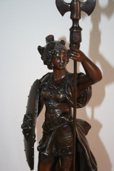 Attributed to Theodore Doriot - antique patinated zamak sculpture of the Roman goddess Minerva - France - late 19th century.