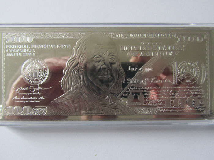 1 Pc US-bills $ 100 = 4 Ounce bullion 2014. = 124.4 Grams Pure 999 Silver