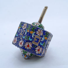 A large silver and enamel cloisonné spinning top or Dreidel - Hebrew - 20th century
